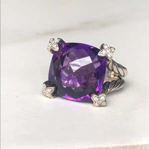 David Yurman Amethyst Cushion on Point Ring
